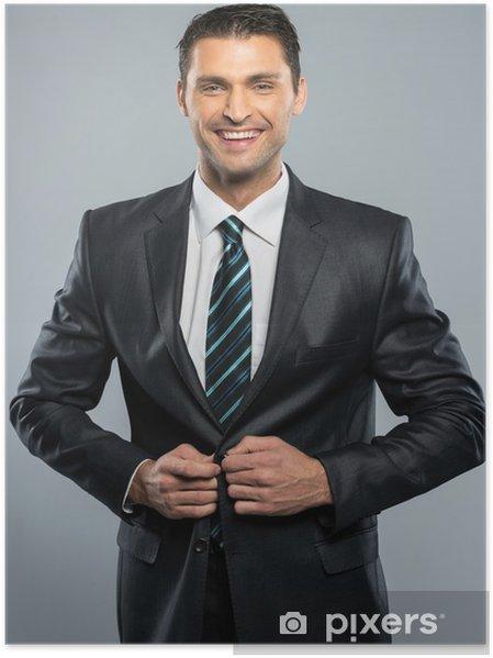 Póster Apuesto Hombre Bien Vestido En Traje Negro Y Corbata