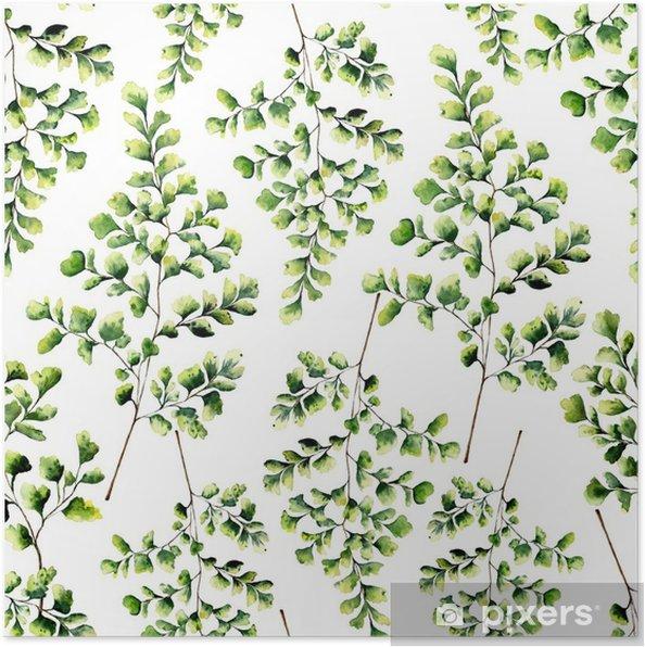 Poster Aquarel naadloze patroon met maidenhair fern verlaat. handgeschilderde varen ornament. bloemenillustratie op witte achtergrond wordt geïsoleerd die. voor ontwerp, textiel en achtergrond. - Bloemen en Planten