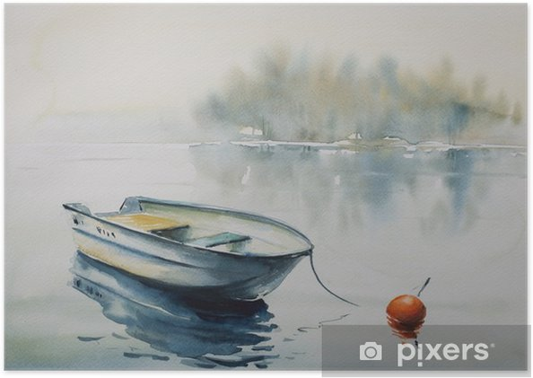 Poster Aquarel schilderij van een landschap met houten boot op de rivier, bedekt met mist. - Landschappen