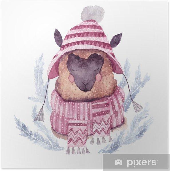 8e5c0f9bba65c1 Poster Aquarel vector alpaca illustratie. Kerst aquarel animal.cute kinderen  illustratie, perfect voor begroeting of postkaarten, prints op t-shirts, ...