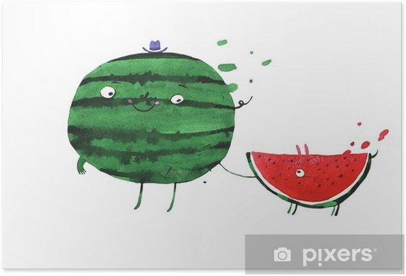 Poster Aquarel watermeloen - Eten