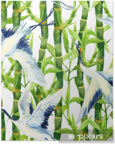 Poster Aquarelle asiatique grue oiseau seamless - Animaux