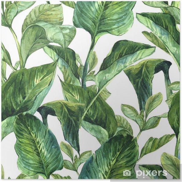 Poster Aquarelle avec des feuilles tropicales - Plantes et fleurs