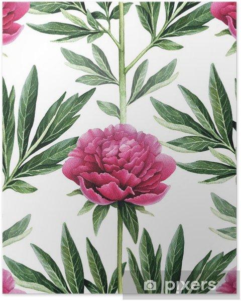 Poster Aquarelle fleurs de pivoine illustration. Seamless - Fleurs et plantes