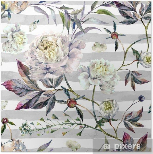 Poster Aquarelle Moelleux blancs - Plantes et fleurs