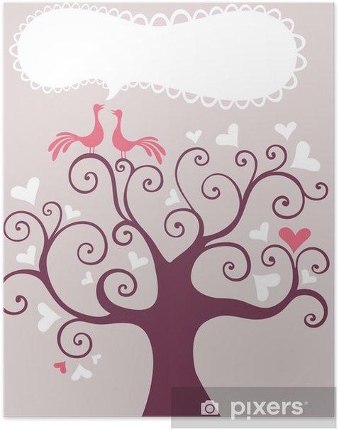 Póster Árbol de la boda - Felicidad