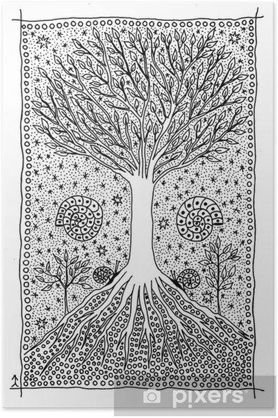 Póster árbol De La Vida Dibujo Fantástico Pixers Vivimos Para