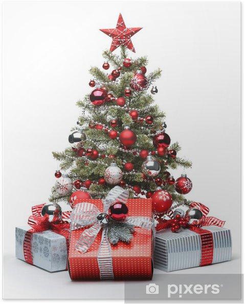 Póster Árbol de Navidad y los regalos Decorado - Navidad