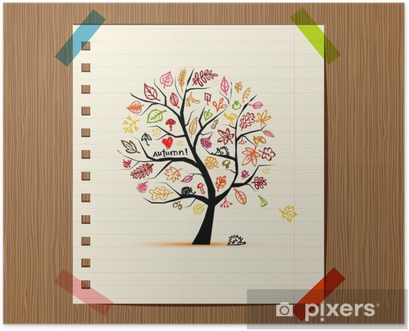 Poster Arbre d'automne croquis dessin pour la conception de votre - Saisons