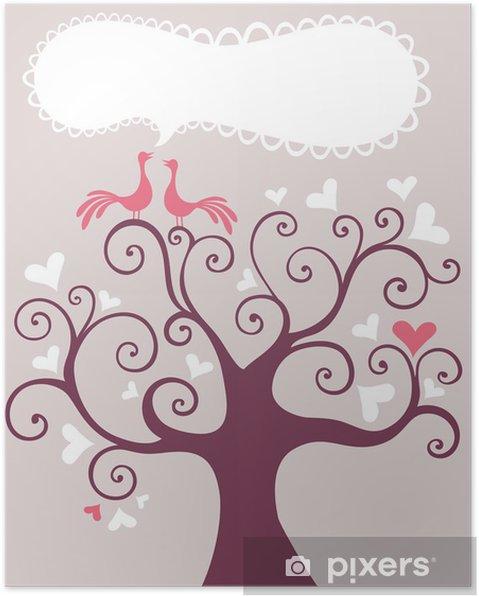 Poster Arbre de mariage - Bonheur