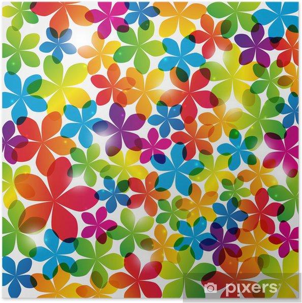 Poster Arc-en-fond floral avec des lumières - Arrière plans