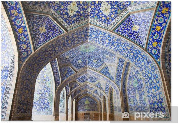 Póster Arcos y pilares de baldosas orientación sobre Abbasi Jame mezquita, Esfahan - Asia