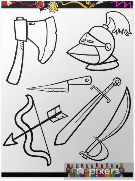 Póster Armas De Dibujos Animados Página Para Colorear Objetos
