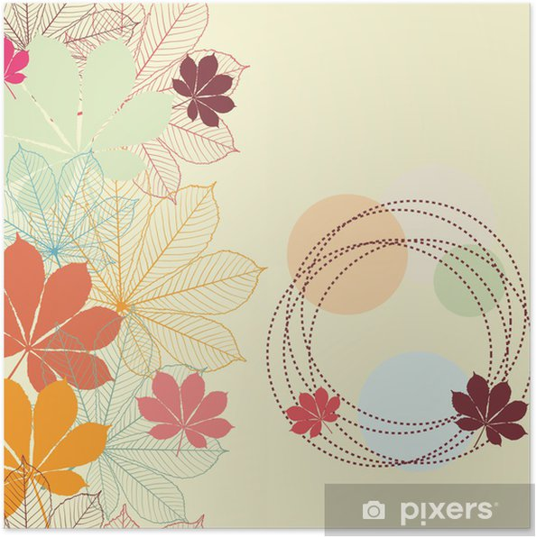 Poster Arrière-plan transparent avec la chute des feuilles d'automne dans un style rétro. - Arrière plans