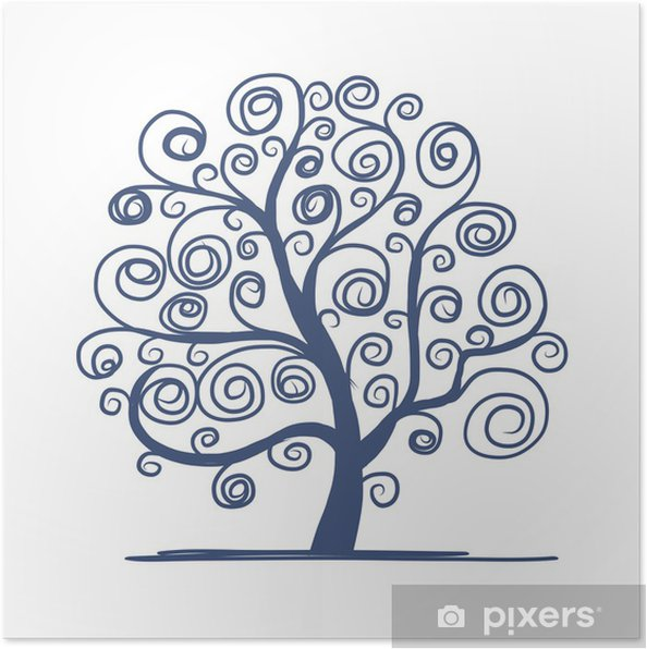 Poster Art tree beautiful for your design - Saisons