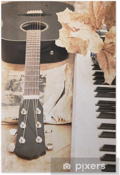 artwork in vintage style, guitar and fortepiano Poster - Themes