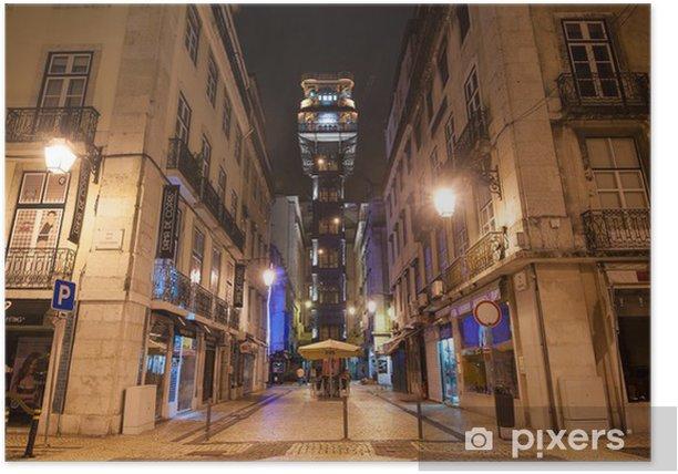 Poster Ascenseur de Santa Justa la nuit, Lisbonne. - Villes européennes