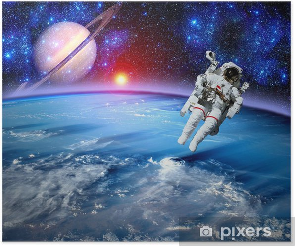 Poster Astronaut Spaceman Outer Space - Planeten