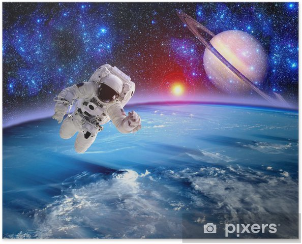 Poster Astronaut Spaceman Saturn Planet - Ruimte