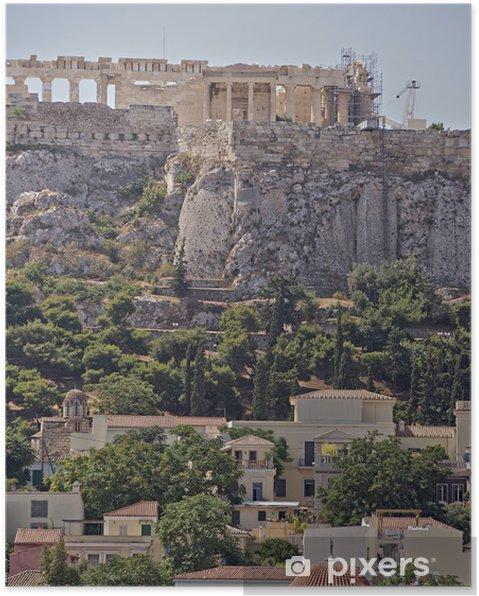 Poster Athènes Acropole et de Plaka vieux quartier, Grèce - Villes européennes