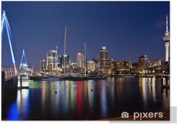 Auckland, New Zealand, Skyline at Night with Bridge Poster - iStaging