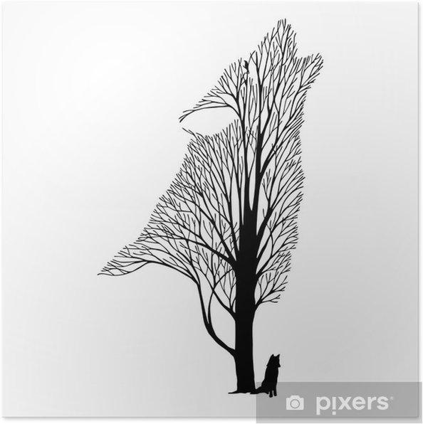 Póster Aullido Del Lobo Mezcla Del árbol Del Dibujo Tatuaje Vector
