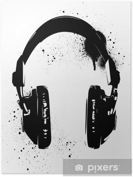 Póster Auriculares Graffiti - Hobbies y entretenimiento