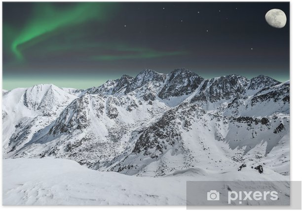 Aurora and moon in mountains Poster - Destinations