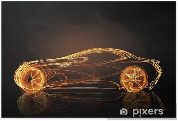 Poster Auto licht symbool - Grafische Bronnen