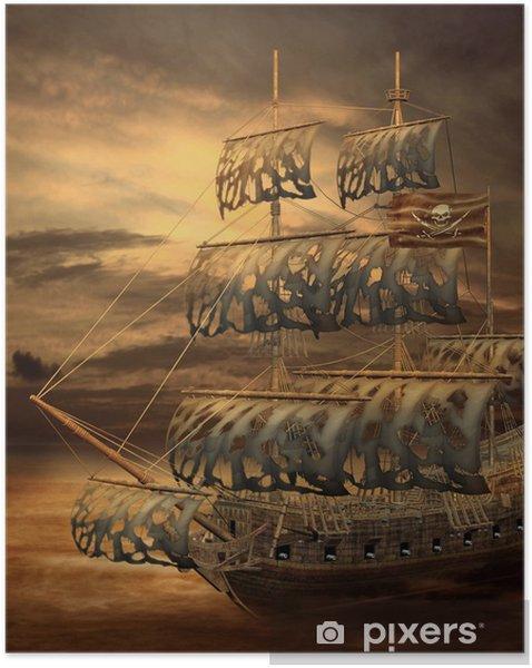 Póster Autoadhesivo Barco pirata 5 - Barcos