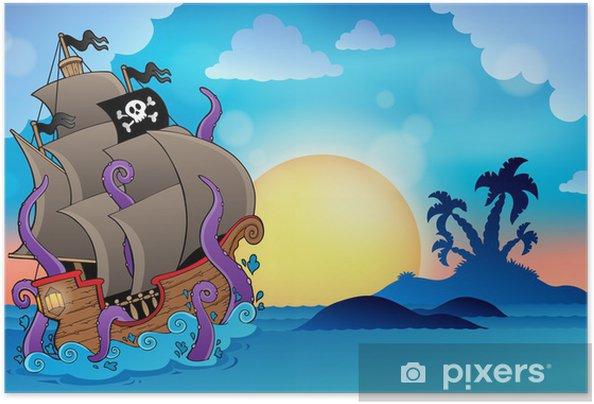 Póster Autoadhesivo Barco pirata cerca de la pequeña isla 2 - Destinos
