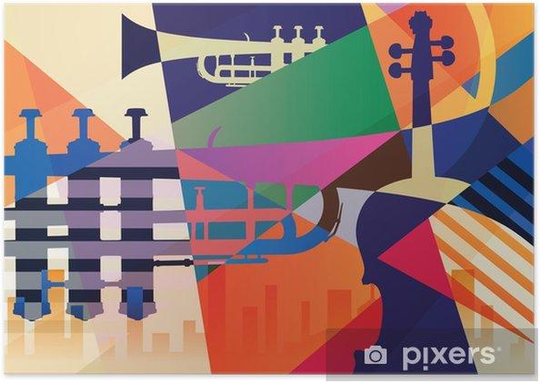 Póster Autoadhesivo Cartel de jazz abstracto, fondo de música - Recursos gráficos