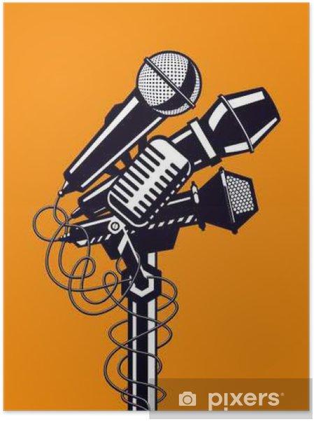 Póster Autoadhesivo Cartel de la música con los micrófonos. - Hobbies y entretenimiento