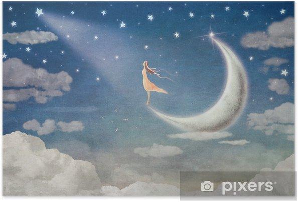 Póster Autoadhesivo Chica en la luna admira el cielo nocturno - ilustración de arte - Sensaciones y emociones