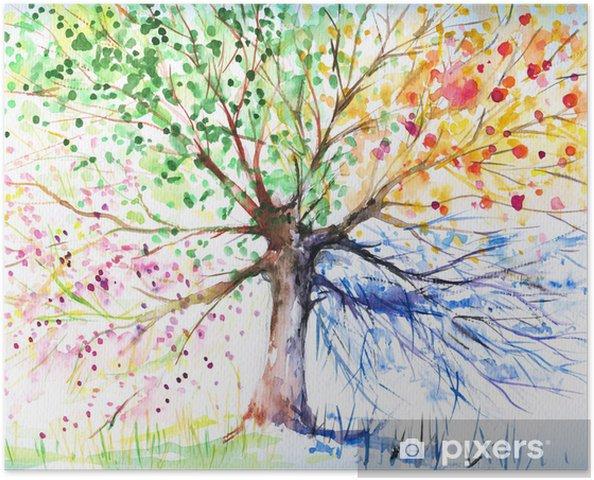 Póster Autoadhesivo Cuatro estaciones árbol -