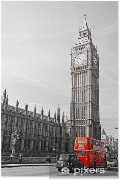 Póster Autoadhesivo El Big Ben, las Casas del Parlamento y el puente de Westminster, -