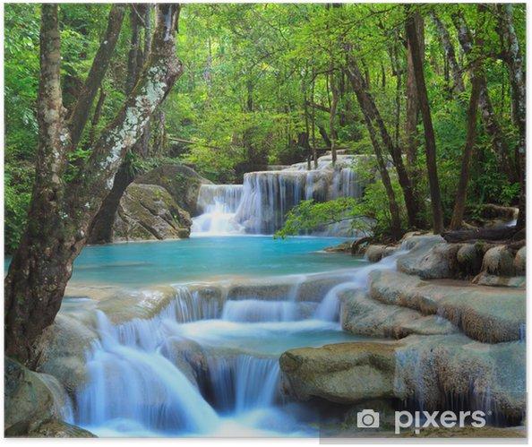 Póster Autoadhesivo Erawan Cascada, Kanchanaburi, Tailandia - Cascadas