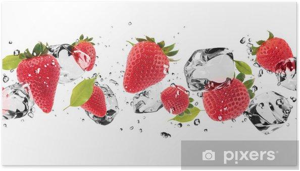 Póster Autoadhesivo Fruta hielo en el fondo blanco - Destinos