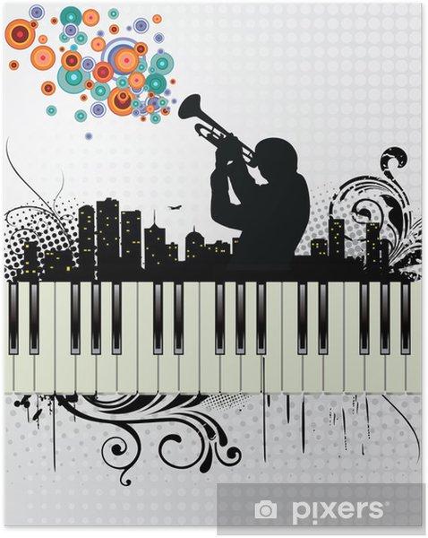 Póster Autoadhesivo Grunge Background Music - Jazz