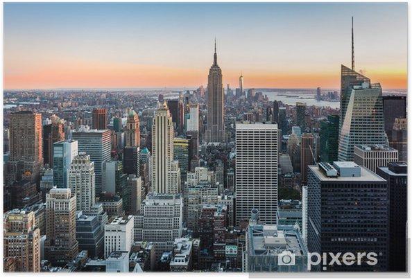 Póster Autoadhesivo Horizonte de Nueva York al atardecer -