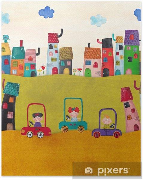 Póster Autoadhesivo Ilustración para niños - Paisajes