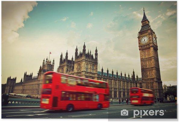 Póster Autoadhesivo Londres, Reino Unido. Bus rojo en el movimiento y el Big Ben - Temas