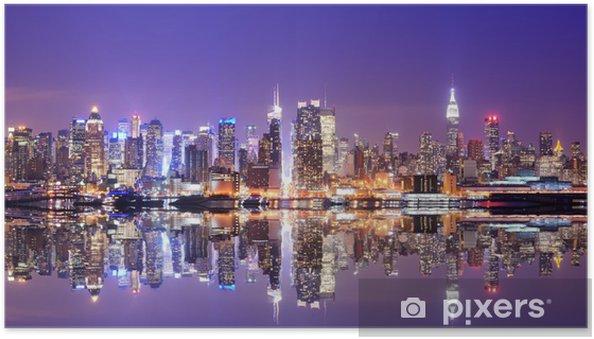 Póster Autoadhesivo Manhattan Skyline con reflexiones -