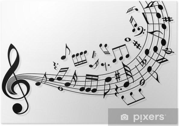 Póster Autoadhesivo Notas de la música -