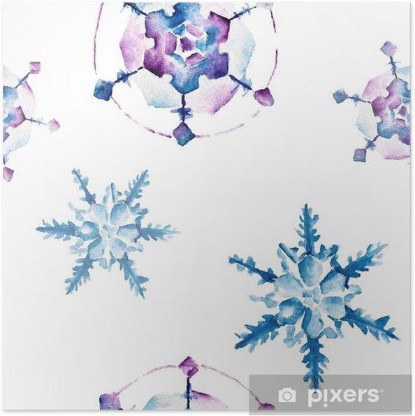 Póster Autoadhesivo Patrón sin fisuras con los copos de nieve. Ilustración de la acuarela. - Recursos gráficos
