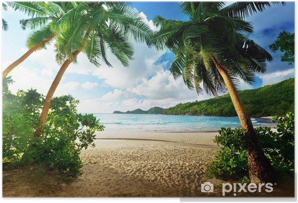 Póster Autoadhesivo Puesta de sol en la playa, la isla de Mahe, Seychelles - Palmeras