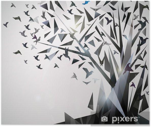 Póster Autoadhesivo Resumen Árbol con pájaros de origami. - Temas