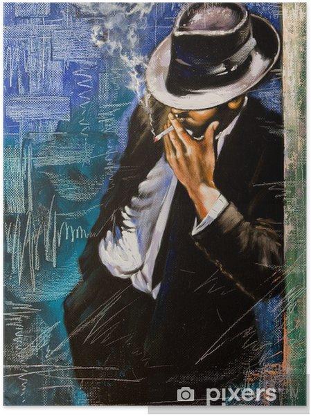 Póster Autoadhesivo Retrato de un hombre con un cigarrillo - Estilos