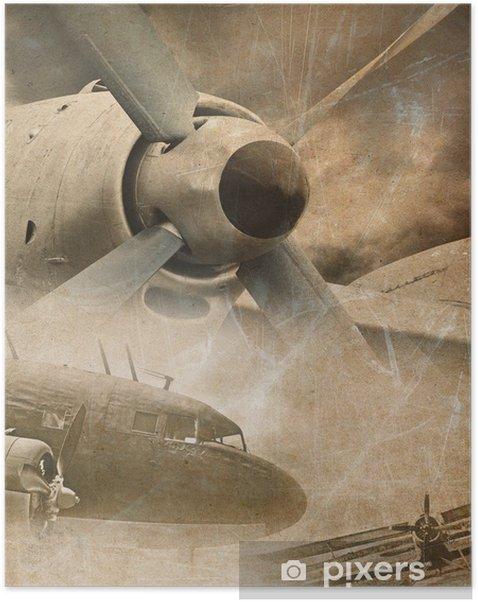 Póster Autoadhesivo Retro aviación, fondo de la vendimia - Estilos