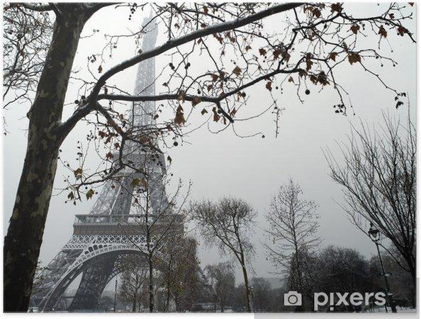 Póster Autoadhesivo Trocadero Francia París bajo nieve - Temas